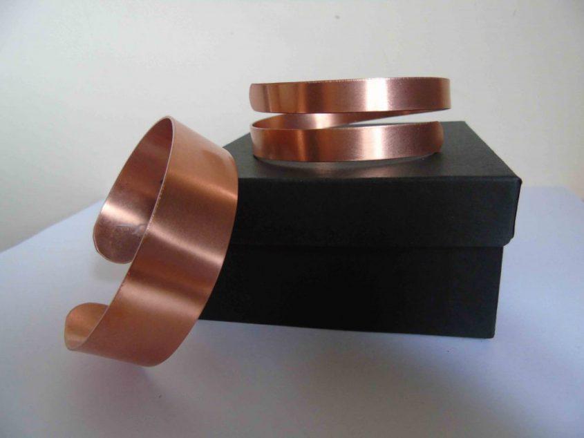 spiral and plain cuff bracelets