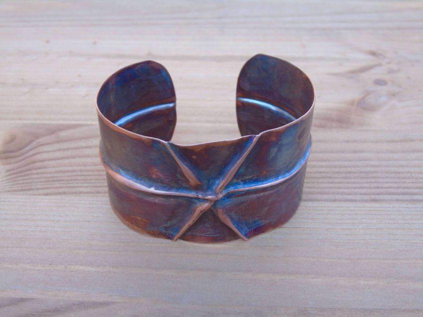 fold formed copper cuff bracelet