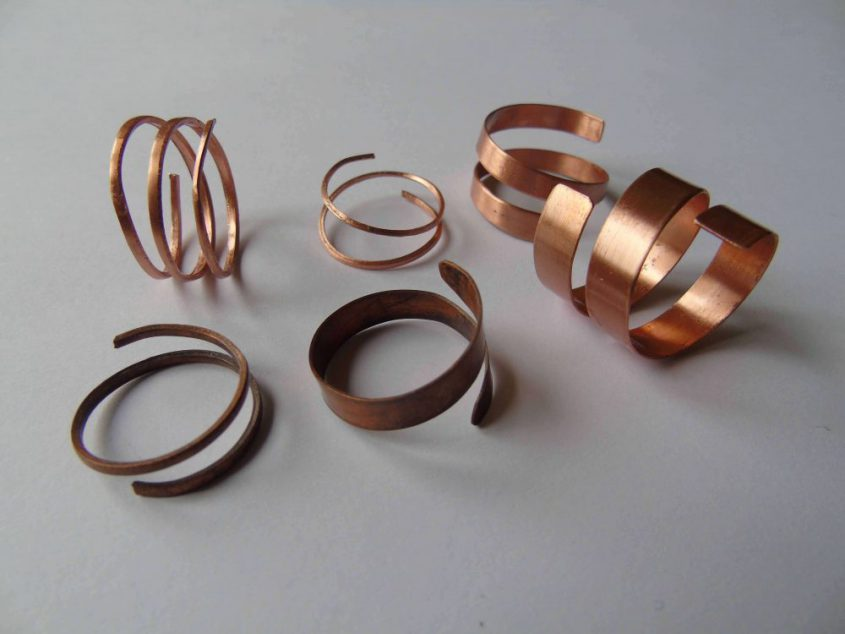 copper spiral shaped rings