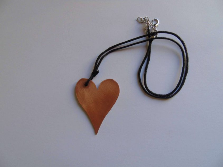 heart shaped copper necklace