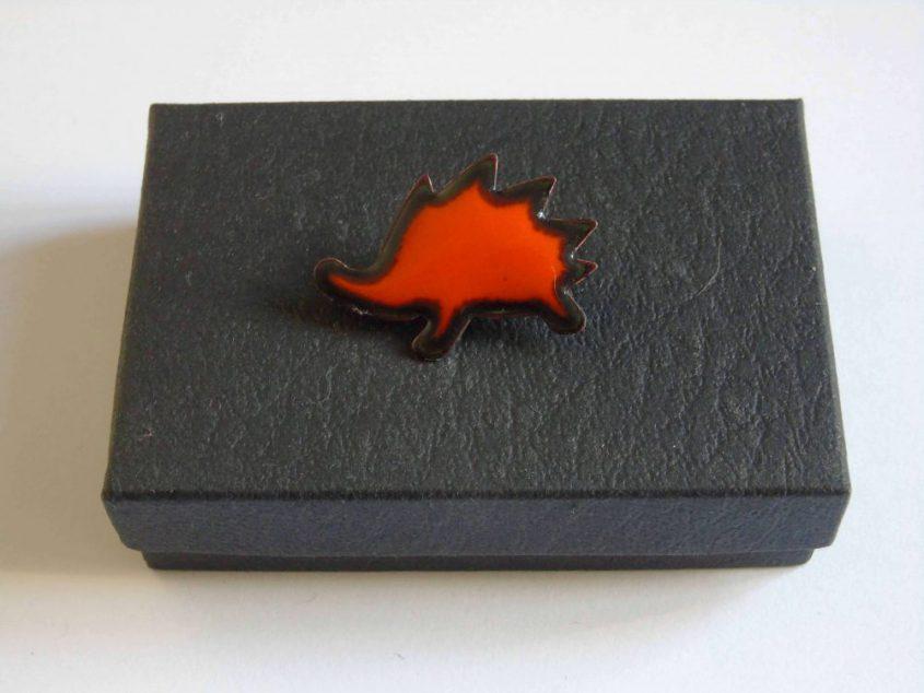 orange hedgehog brooch