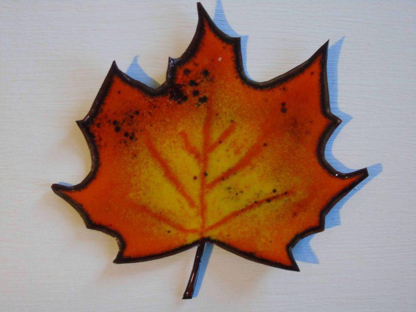 close up of enamelled leaf