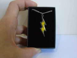 yellow enamelled lightning necklace