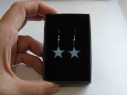 pale lilac star shaped enamelled earrings
