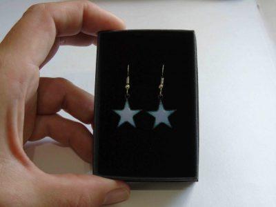 pale lilac star shaped enamelled earrings