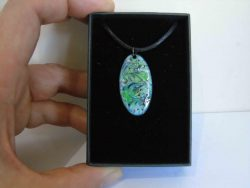 oval necklace pendant with swirled colours