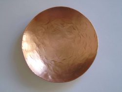 copper round bowl from above