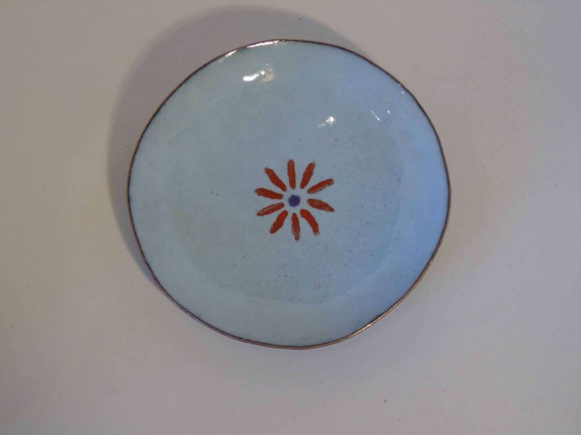 pale blue enamelled bowl from above