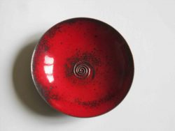 red enamelled bowl from above