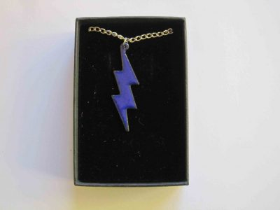 blue enamelled lightning necklace