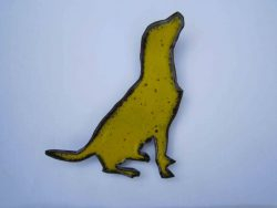 Yellow enamelled labrador retriever wall hanging