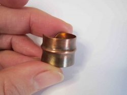 Fold formed copper ring with single centreline fold