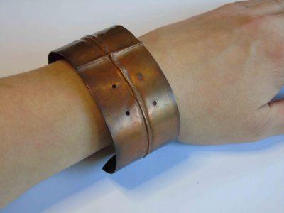 fold formed bracelet being worn