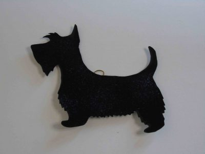 Enamelled copper scottie dog wall hanging