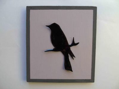 blackbird silhouette on mauve and grey painted board
