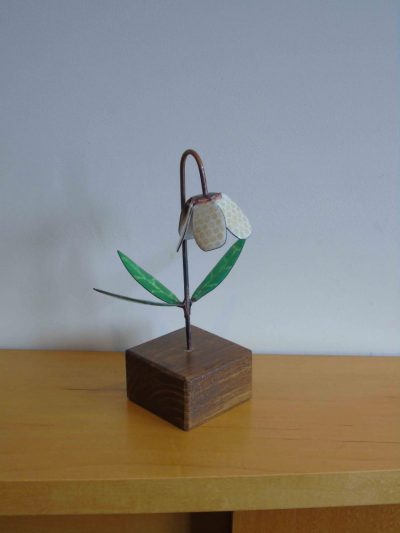 fritillaria enamelled copper flower from slightly above
