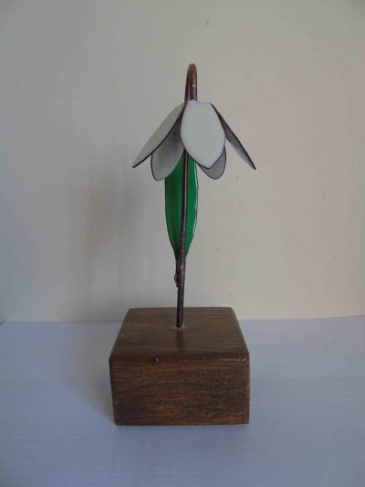 Snowdrop enamelled copper floewr from the front