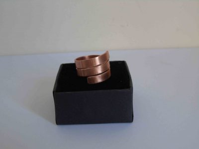 chunky spiral ring on its box