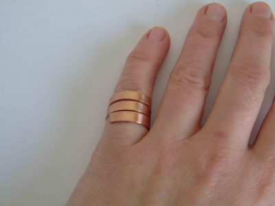chunky spiral ring being worn