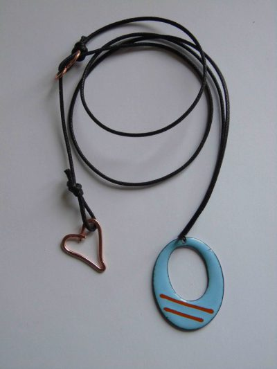 Blue enamelled necklace showing adjustable waxed cord 'chain'
