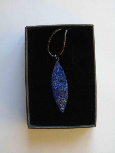 Blue swirly navette in its box