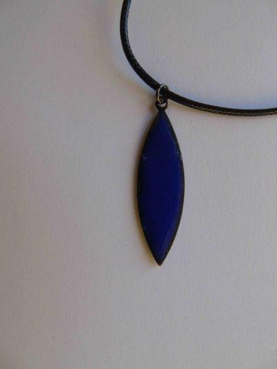Back of blue navette necklace