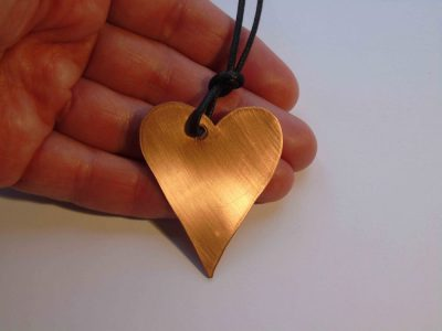 Copper heart necklace front