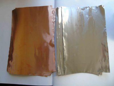 Samples of copper and aluminium foil pieces