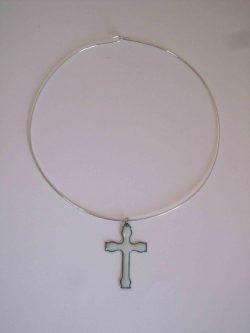 white cross on choker necklace